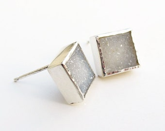 White Drusy Crystal Square Earrings Sterling Post