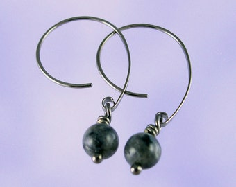 Niobium earrings: Labradorite beads on Apostrophe earwires