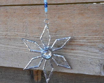 Stained Glass Snowflake Christmas Ornament-Clear