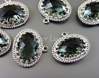 2 Victorian style gray crystal glass stone charms, oval glass pendants, unique findings for jewelry 5094R-GR (bright silver, gray, 2 pieces)