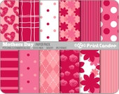 Mother's Day Paper Pack (12 Sheets) - Personal and Commercial Use - red pink sweet cute pretty dots plaid flowers