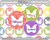 1 Inch - Editable PDF (4x6) - Colorful Butterflies Digital Collage Sheet (No. 213) - 1 Inch Bottle Cap Circles