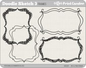 Doodle Sketch Frames 3 - Personal and Commercial Use - digital clipart frames clip art cute modern label
