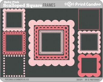 Scalloped Square Frames (Baby Pink) - Personal and Commercial Use - digital clipart frames clip art cute modern label