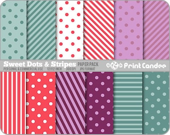Sweet Dots & Stripes Paper Pack (12 Sheets) - Personal and Commercial Use - 12 x 12 mod flowers pink red purple blue