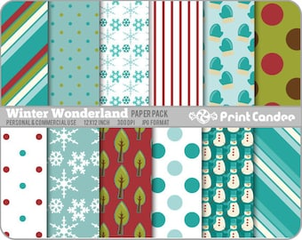 Winter Wonderland Paper Pack (12 Sheets) - Personal and Commercial Use - blue white snow mittens stripes dots