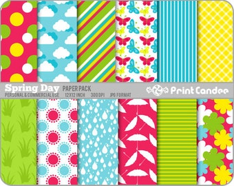 Spring Day Paper Pack (12 Sheets) - Personal and Commercial Use - red yellow turquoise green flowers dots butterflies