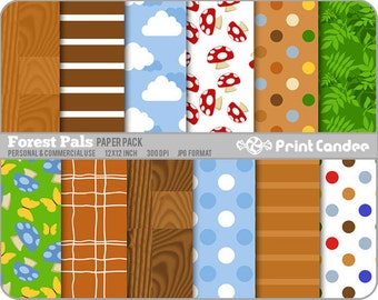 Forest Pals Paper Pack (12 Sheets) - Personal and Commercial Use - brown blue dots wood plaid mushrooms leaves