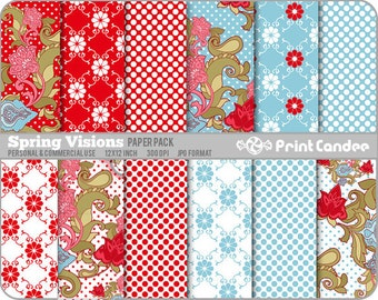 Spring Visions Paper Pack (12 Sheets) - Personal and Commercial Use - polka dot flowers paisley foral red blue