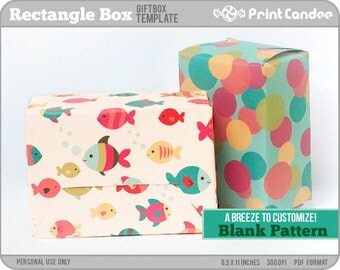 Gift Box Blank Template - Rectangle Box - Personal Use Only - Printable - DIY