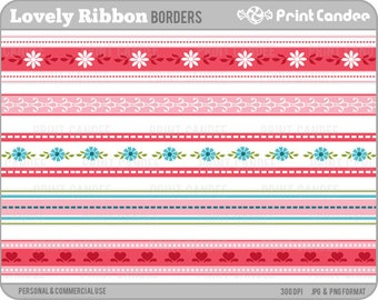 Lovely Ribbons - Personal and Commercial Use - digital clipart borders edges flowers hearts pink red blue