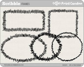 Scribble Frames - Personal and Commercial Use - digital clipart frames clip art cute modern