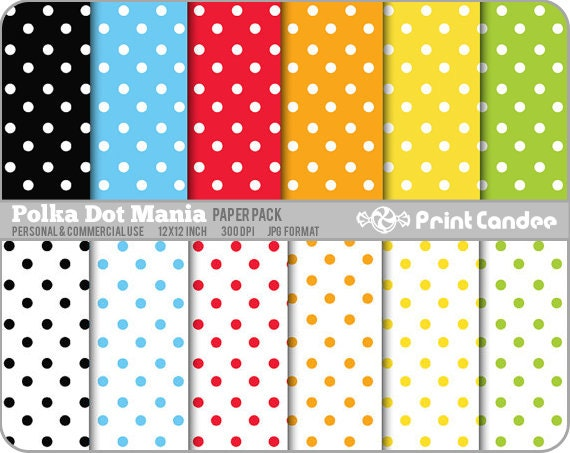 Polka Dot Mania Paper Pack (12 Sheets) -  Personal and Commercial Use - green blue red orange white yellow blackdots