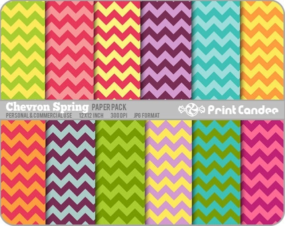Chevron Spring Paper Pack (12 Sheets) - Personal and Commercial Use - floral retro mod funky fun