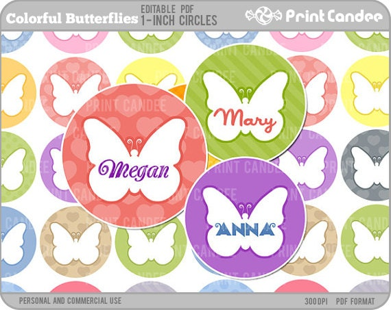 1 Inch - Editable PDF (4x6) - Colorful Butterflies Digital Collage Sheet (No. 213) - 1 Inch Bottle Cap Circles