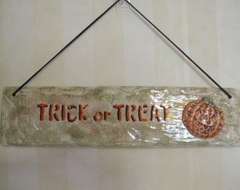 Glazed Ceramic Trick or Treat Halloween Sign with 3-D Pumpkin FREE SHIPPING