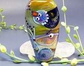 Walking between Raindrops  - Handmade Lampwork Bird and Fish Bead by Manuela Wutschke