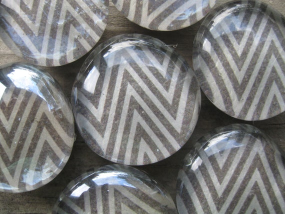 The Charcoal Set - 8 Piece Glass Magnet Set - Glass Bubble Magnets - Fridge Glass Magnets - Pattern Magnets - Chevron