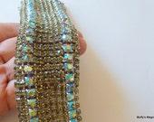 12 Twelve Row Bracelet Blue Aurora Borealis Rhinestones