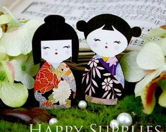 4pcs Large Handmade Colorful Japanese Doll Charms / Pendants (CWD03)