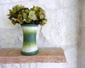 Beige and Green Vase /  Handcrafted home decor / vases by carriage oak cottage
