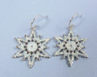 Silver and White Snowflake Earrings with White Enamel, Sparkling Glitter, Silver-Finish Accent Snowflakes, and Sterling Silver Ear Wires