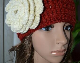 Sale Women,Teen Crochet Sweet flower Hat  In BRICK,ARAN FLOWER