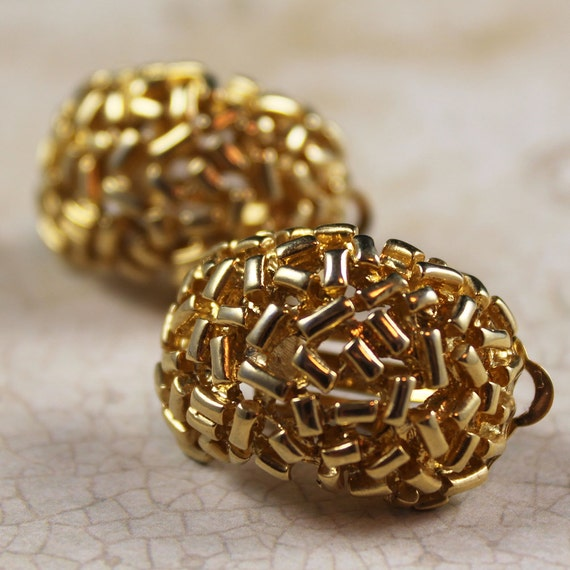 Vintage FO Inc Large Golden Clip On Earrings