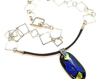 Dichroic Glass Pendant/Necklace/Fused Glass Pendant/ Dark Blue Pendant/Leather and Silver Chain Necklace