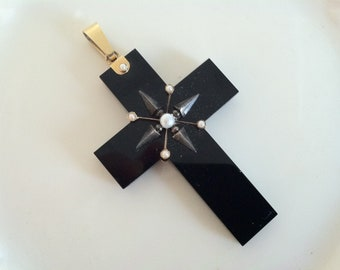 Gothic cross, Large antique victorian gothic black onyx pearl gold mourning cross