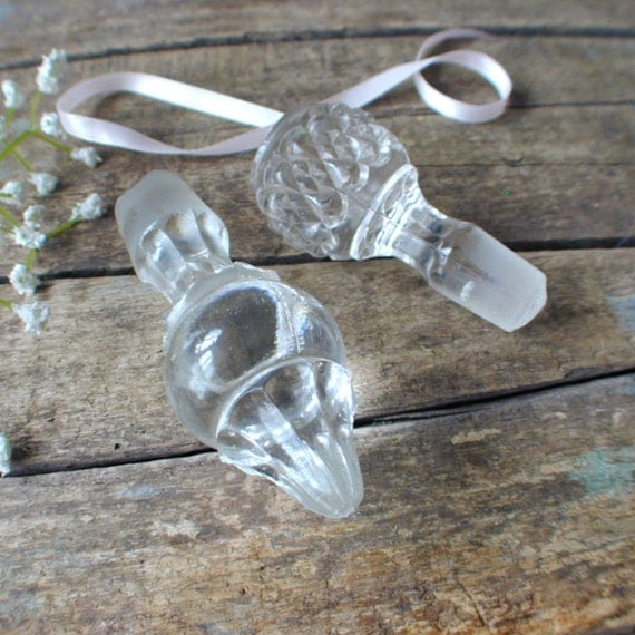 Vintage Glass Crystal Bottle Stoppers Lot of Two