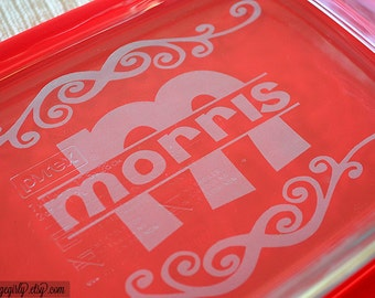 The Name Flourish - Last Name with Inial Overlay - 9x13 Engraved Pyrex by Gone Girly. Pyrex Casserole + Free Red Lid