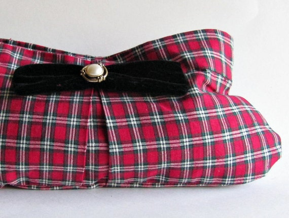 Red Plaid Clutch - Tartan Plaid Purse - Black Velvet Bow