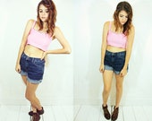 Pink Corduroy Crop Top S M