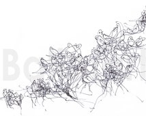 Black birds art print, Flying Whispers or Flock of Birds - ink Drawing, black and white art, Prints illustrations, birds wall art, artwork
