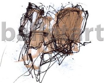 Elephant Art Print, Elephant as an architectural concept, abstract art, conceptual art, hand sketch, hand drawing, art print, wall art