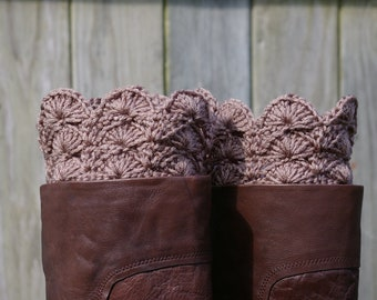 Boot Cuffs in Taupe Brown Crochet Boot Toppers Boot Socks