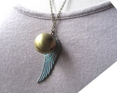 Heart for you ball locket with verdigris patina wing pendant necklace