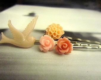 Mystic river blush dove, pink and coral salon, peach mum 4pcs bobby pin mix and match