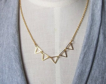 5 gold brass triangle geometry pendant connected necklace gold filled chain 16 inch wedding bridesmaids