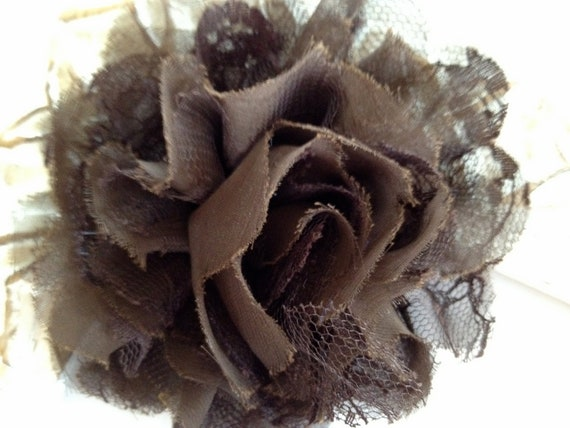 Brown X-Large Shabby Chic Lace and Chiffon Clip, Headband,  baby girl, toddler, photo prop
