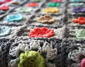 Granny Square Bobble Flower Blanket HAAK patroon - haakpatroon - pdf tutorial - REV it up - in DUTCH / Nederlands