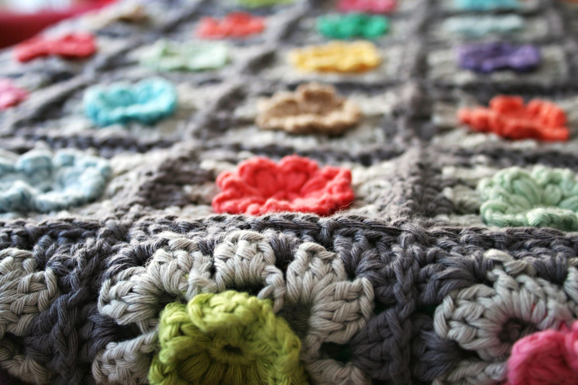 Granny Square Bobble Flower Blanket Crochet pattern pdf by Revlie