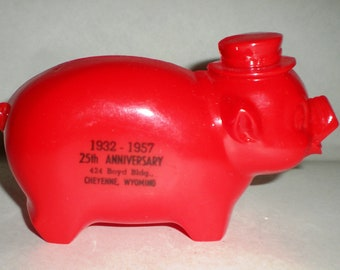 Coin Bank - Red Pig Coin Bank -  Vintage 1950's