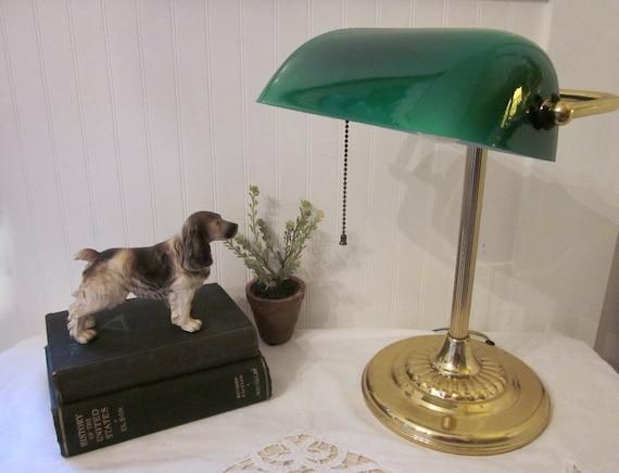 Banker's Lamp, Green Glass Shade, Art Deco style, Retro Lamp. Work, Task, Reading, Table Light, Brass tone finish, shabby vintage charm