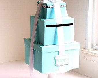 Wedding Card Box  Tiffany Blue Theme Wish Card Box Gift Card Holder Money Box