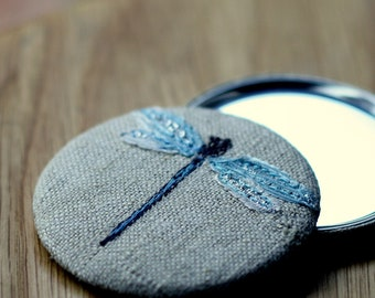 Personlised Pocket Mirror with Embroidered Dragon Fly
