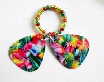 Guitar Pick Ring Pink Tie Dye Glass Beads