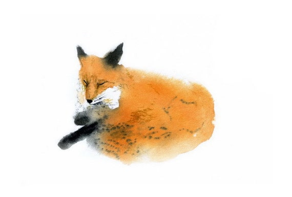 fox watercolor postcard, forest animals for children