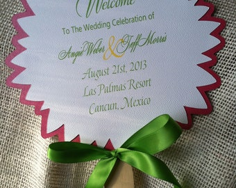 8 Inch Wedding Fan Favor for Programs Flower Shaped Custom for Your Colors